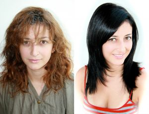 brown to black hair color and style at House of Beauty Salon