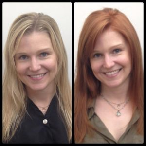 blonde to red hair color at House of Beauty Salon